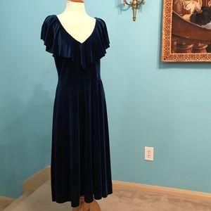 June & Hudson Blue Velvet Ruffle Midi Dress